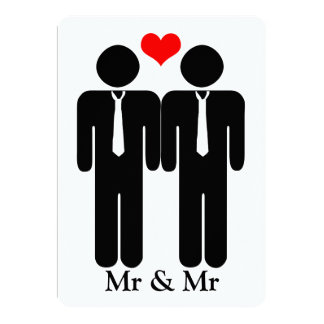 Two Grooms In Ties Wedding 5x7 Paper Invitation Card