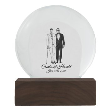 Two Grooms Names and Date Snow Globe