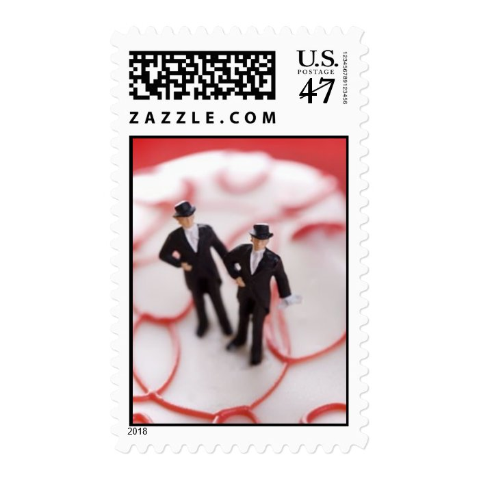 Two Grooms on a Cake Stamp