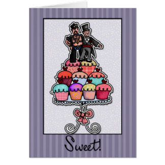 Two Grooms on Cupcake Stack (Leather Daddy) Card