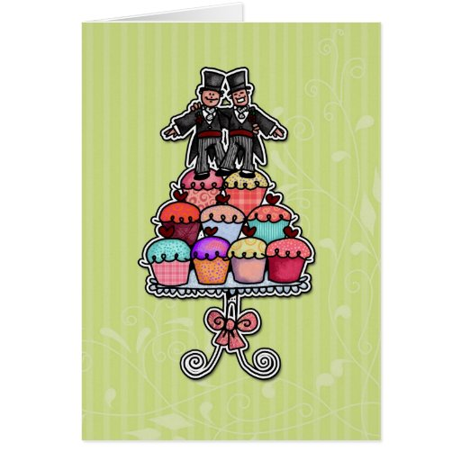 Two Grooms on Cupcakes Greeting Card