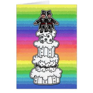 Two Grooms on Rainbow Wedding Cake Card