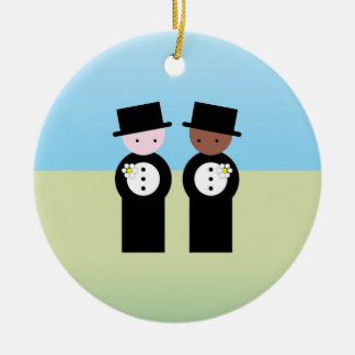 Two grooms one caucasian Double-Sided ceramic round christmas ornament