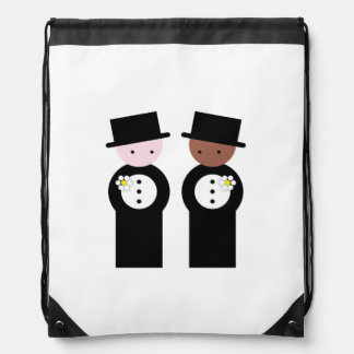 Two grooms one caucasian, one colored drawstring backpack