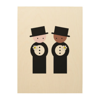 Two grooms one caucasian, one colored wood print