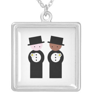 Two grooms one caucasian square pendant necklace