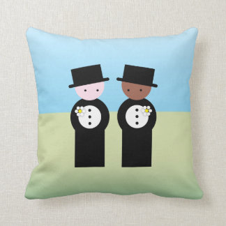 Two grooms one caucasian throw pillow