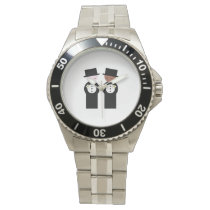 Two grooms one caucasian wristwatch