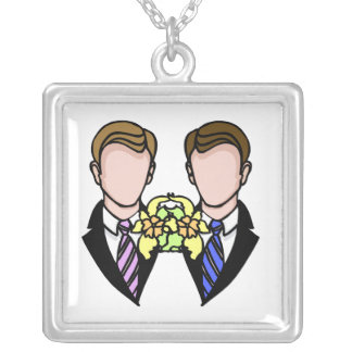 Two Grooms Square Pendant Necklace
