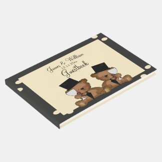 Two Grooms Teddy Bears Gay Wedding Personalized Guest Book