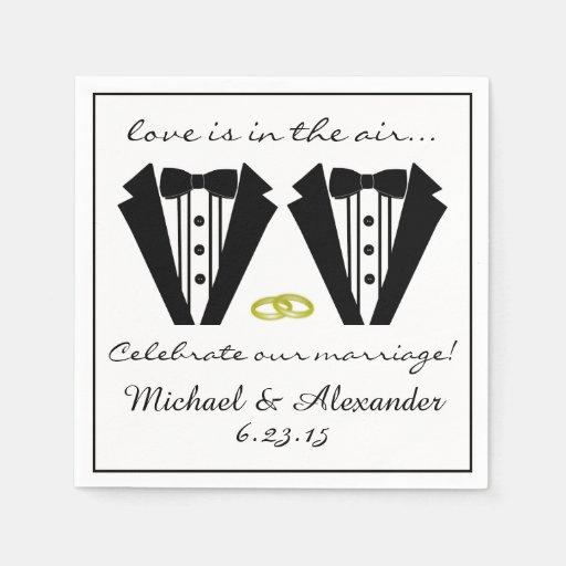 Two Grooms-Tuxedo Wedding Disposable Napkins
