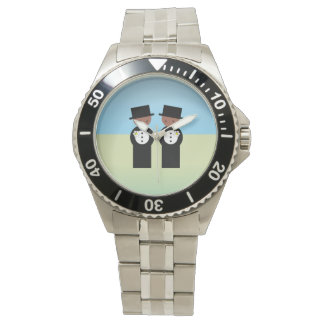 Two grooms watch