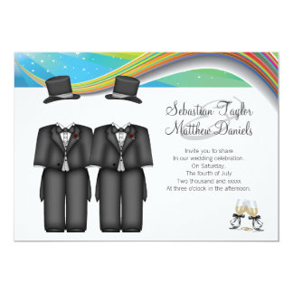 Two Grooms Wedding 5x7 Paper Invitation Card