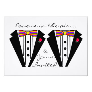 Two Grooms Wedding Tuxedo With Rainbow Bow Tie 5x7 Paper Invitation Card