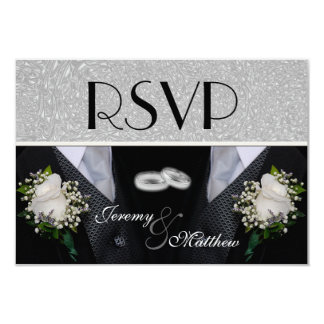 Two Grooms Wedding Tuxes RSVP 3.5x5 Paper Invitation Card