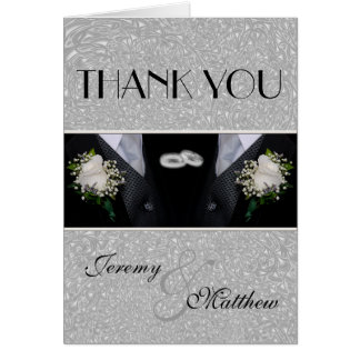 Two Grooms Wedding Tuxes Thank You Stationery Note Card