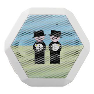 Two grooms white bluetooth speaker