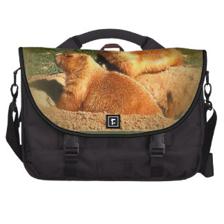 Two Groundhogs Coming Out On Groundhogs Day Laptop Bag