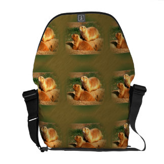 Two Groundhogs Coming Out On Groundhogs Day Messenger Bag