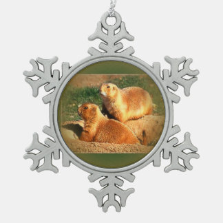 Two Groundhogs Coming Out On Groundhogs Day Snowflake Pewter Christmas Ornament