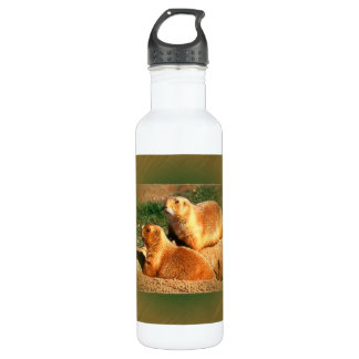 Two Groundhogs Coming Out On Groundhogs Day Water Bottle