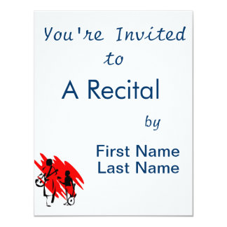 """two guitar players outline musician red.png 4.25"""" x 5.5"""" invitation card"""