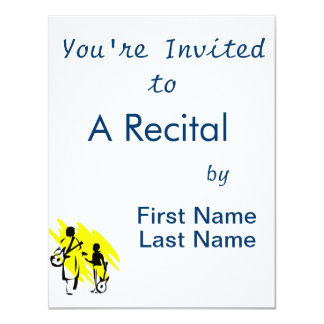 """two guitar players outline musician yellow.png 4.25"""" x 5.5"""" invitation card"""