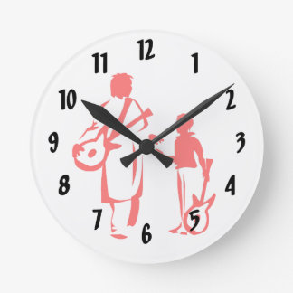 two guitar players red.png round wallclock