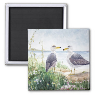 Two Gulls on the shore Refrigerator Magnet