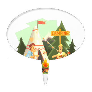 Two Guys Enjoying Camping In Forest. Cool Colorful Cake Topper