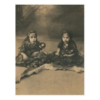 Two gypsy children post card