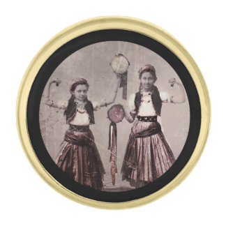 Two Gypsy Girls and Tamborines Gold Finish Lapel Pin