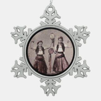 Two Gypsy Girls and Tamborines Snowflake Pewter Christmas Ornament