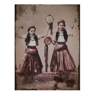 Two Gypsy Girls with Tamborines Postcard