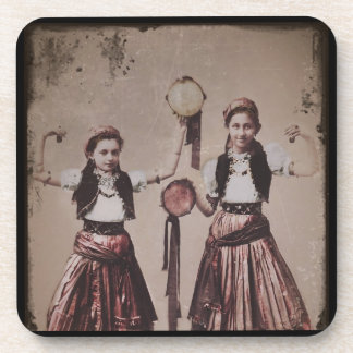 Two Gypsy Girls with Tambourines Beverage Coaster
