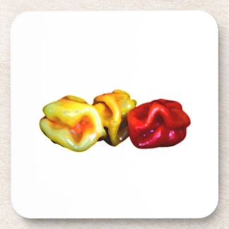 two habanero yellow one red pepper cutout graphic beverage coaster