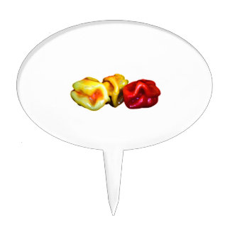 two habanero yellow one red pepper cutout graphic cake topper