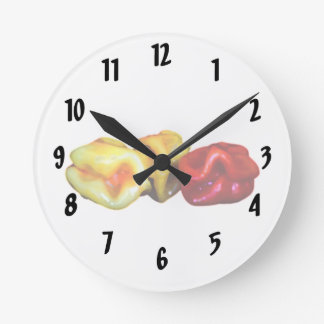 two habanero yellow one red pepper cutout graphic round clock