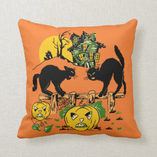 Two Halloween Black Cats and Haunted House Throw Pillow