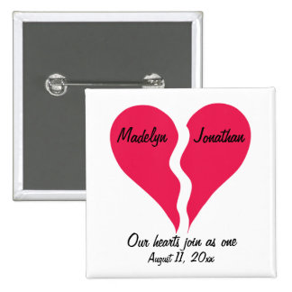 Two Halves Hearts Join as One Name Personalized Button