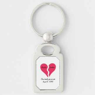 Two Halves Hearts Join as One Name Personalized Keychain