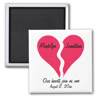 Two Halves Hearts Join as One Name Personalized Magnet