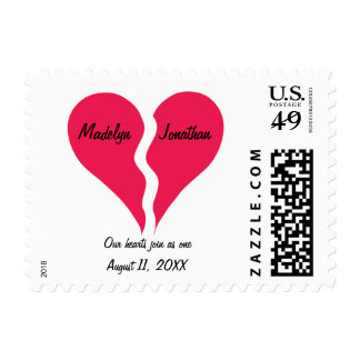 Two Halves Hearts Join as One Name Personalized Postage