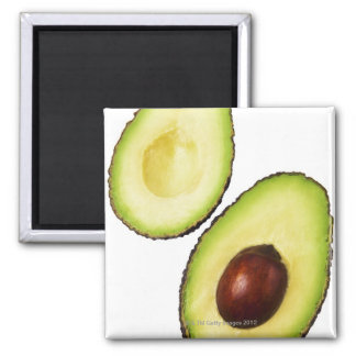 Two halves of an an avocado, on white 2 inch square magnet