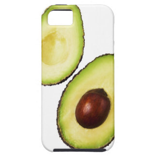 Two halves of an an avocado, on white iPhone SE/5/5s case