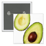 Two halves of an an avocado, on white pinback button