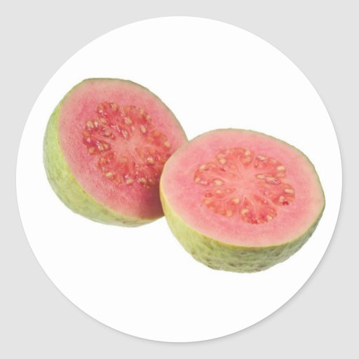Two halves pink guava stickers