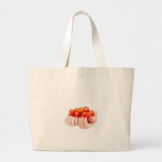 Two hands holding cherry tomatoes large tote bag