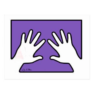 Two Hands on Purple Postcard
