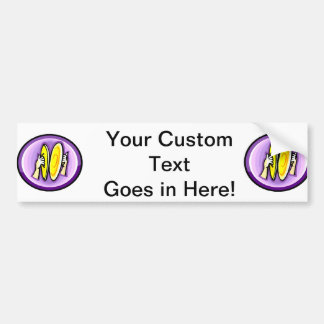 Two hands playing crash cymbals in purple circle bumper sticker